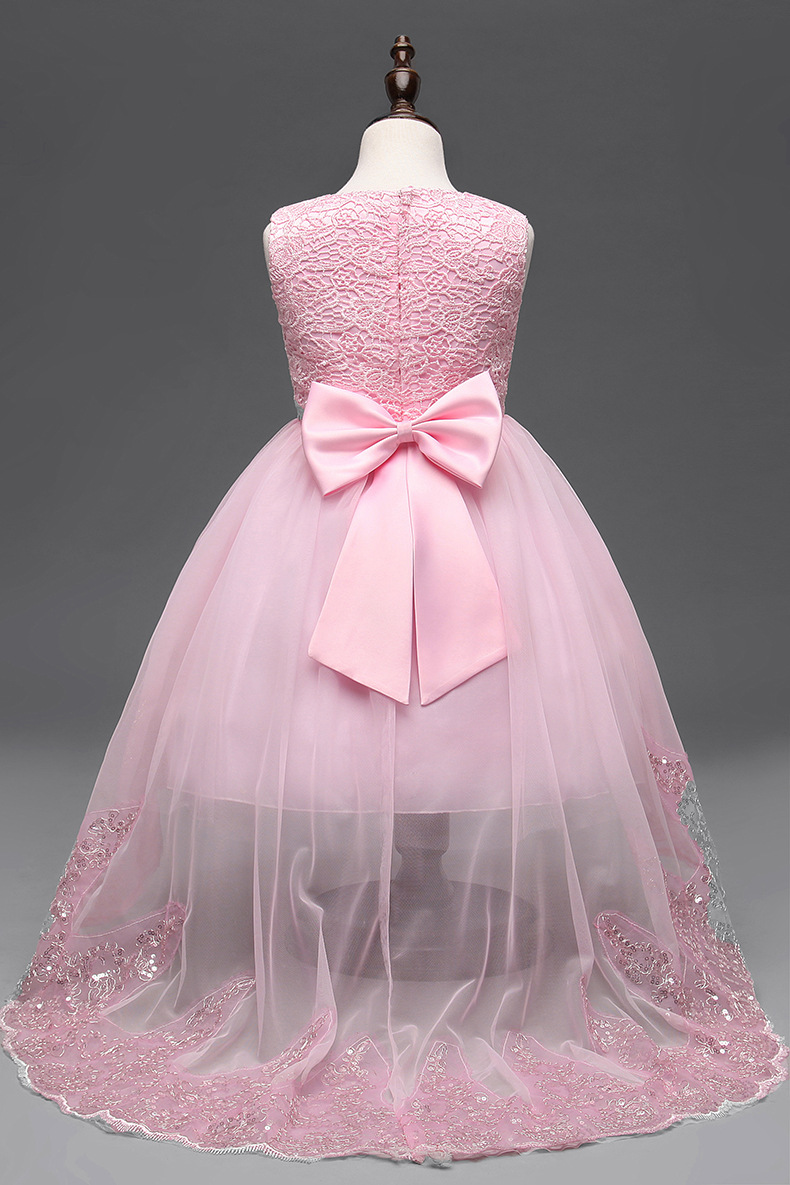 fc4f9692bc Flower Girl Dress Children Red Mesh Trailing Butterfly Girls Wedding Dress  Kids Ball Gown Embroidered Bow Party Dress