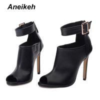 Aneikeh Gladiator Women Pumps Ladies Sexy Buckle Strap Roman High Heels Open Toe Sandals Party Wedding Shoes Size 35-40 Black  1