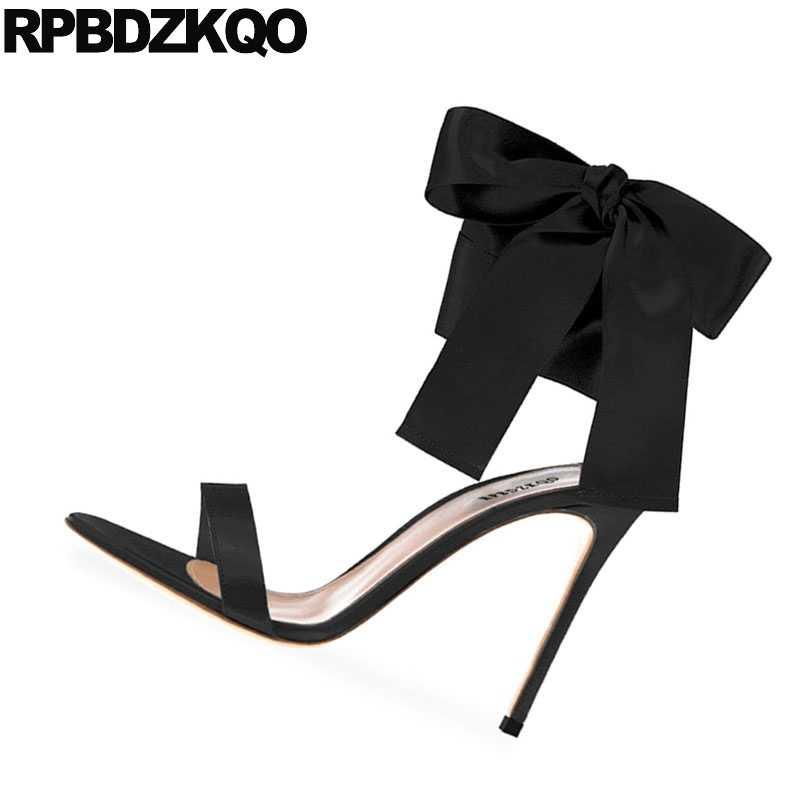 8df1703e11751 ... Ladies Women Gold Open Toe Heels Bow Sandals Black High Designer Pumps  Satin Ankle Strap Burgundy
