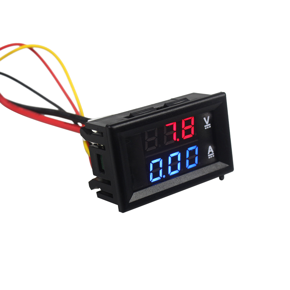 High Quality DC 100V 10A Voltmeter Ammeter Blue + Red LED Amp Dual ...