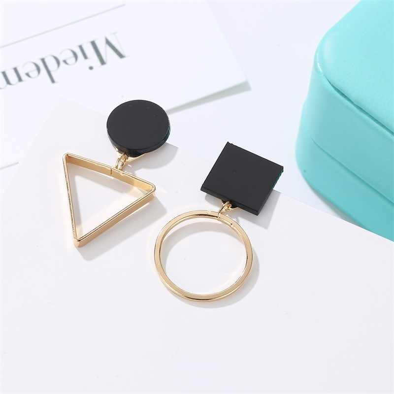 Brand Punk Fashion Triangle Round Geometric Asymmetric Black Earrings Women Party Jewelry pendientes brincos