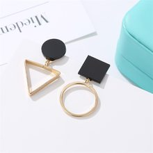 Brand Punk Fashion Triangle Round Geometric Asymmetric Black Earrings Women Party Jewelry pendientes brincos(China)