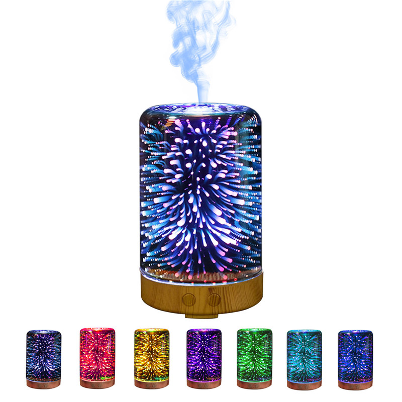 IVYSHION Firework Night Aroma Diffuser Humidifier Seven Color Ultrasonic Air Humidifier For Home 3D Glass Mist Maker ivyshion 1pc arotrerapy humidifier creative heart fireworks led night light air humidifier seven colors aroma diffuser for home