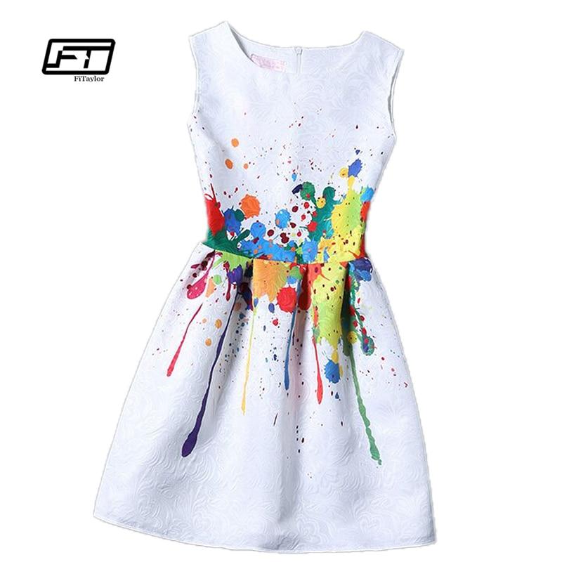 Fitaylor uued naised trükitud lillede kleit varrukateta põlve pikkusega üks tükk kleit vabaaja õhuke bodycon korea kolledži vintage kleit