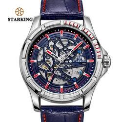 STARKING męskie przezroczyste zegarki 28800 High Beats ruch zegarki na rękę mężczyzna zegar skórzany Relogios Automaticos Mecanic AM0271|Zegarki sportowe|Zegarki -
