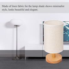 ABEDOE Desk Lamp With Fabric Shade Solid Wood Base E27 For Bedroom Living Room Bookcase Cafe Hotel(Bulb Is Not Included)(China)