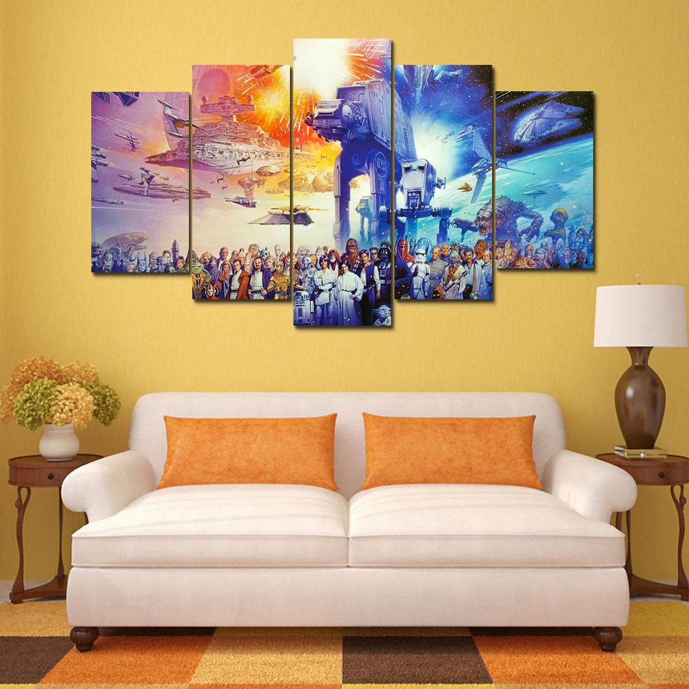 Print 5pcs star wars saga movie poster painting home decor wall art ...