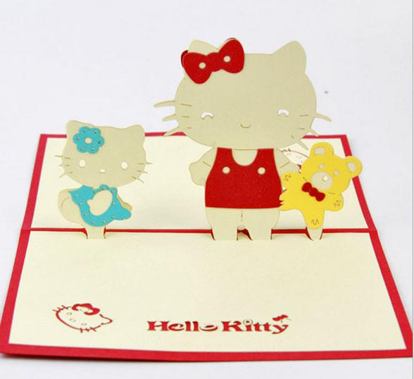Free Shipping 3D Luxury Handmade Gift Cards Stereo Pop Up Cute Hello Kitty Birthday Invitations Greeting