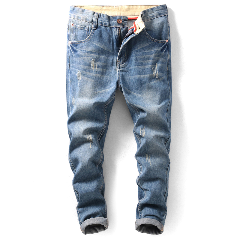 2019 Summer Fashion New Men's Casual Boutique   Jeans   / Man's Slim Skinny Hole Hole Pencil Denim Trousers