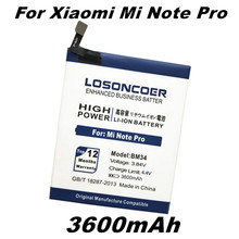 Top LOSONCOER 3600mAh BM34 Mobile Phone Batteries Built-in Li-ion For Xiaomi Mi Note Pro Battery(China)