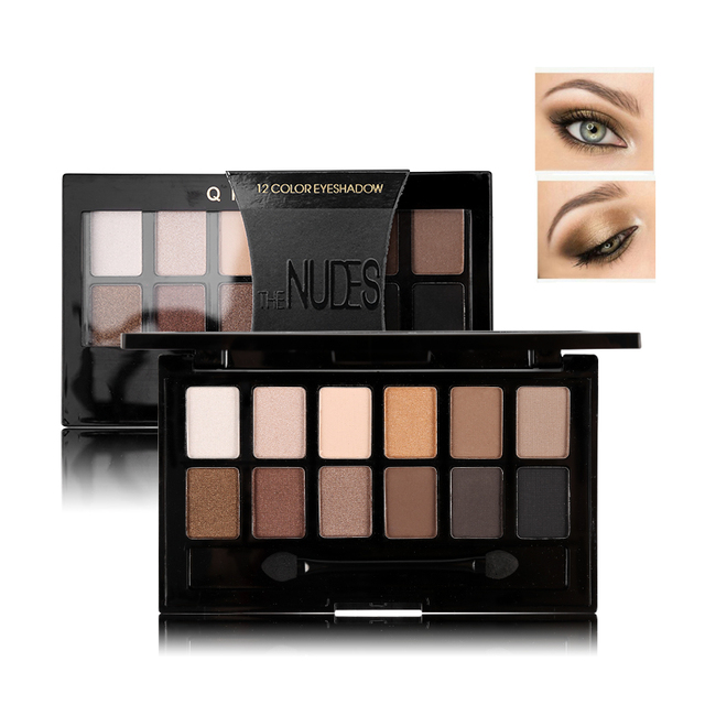 Ucanbe 12 Colors Pro Nude Earth Color Makeup Eyeshadow Palette with Brush Smoky Eye Shadow Shimmer Matte Mineral Waterproof Kits 3