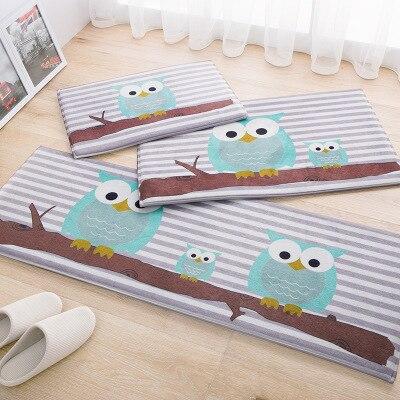 Cartoon Gift Owl Carpet Kitchen Rugs Mats Anti Slip Floor Mat Modern Home Decor Fish Doormat Bedroom Bedside Rug Bath Mats K119