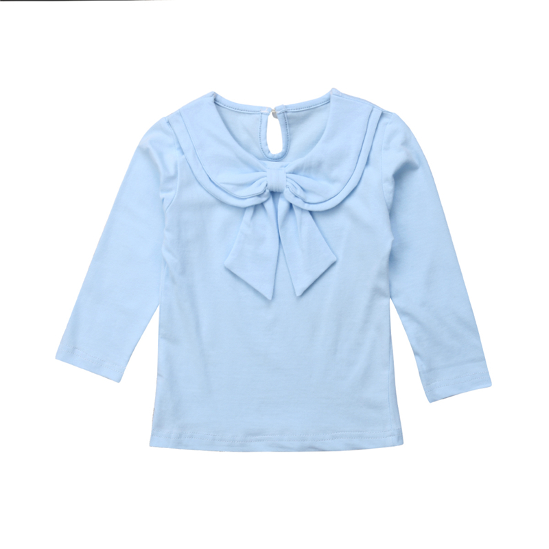 Baby Girl Collar Bowknot Blouse Toddler Kids Peter Pan Collar Cotton Bottoming Shirt Tops Cute Girl Spring Autumn Casual Clothes sweet peter pan collar button back women s tank top