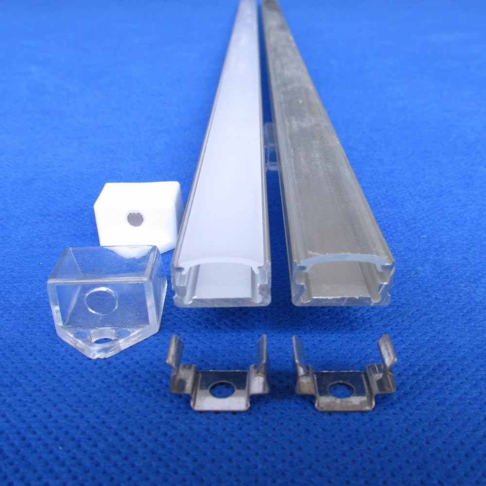 50pcs x 1m piece with Clear cover QC1307 total 100piece clear end caps 100piece mounting bracket
