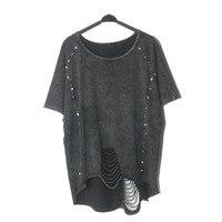 2017 Fashion Women Summer Punk Rock T Shirt Rivet O Neck Hole Short Sleeve T Shirt