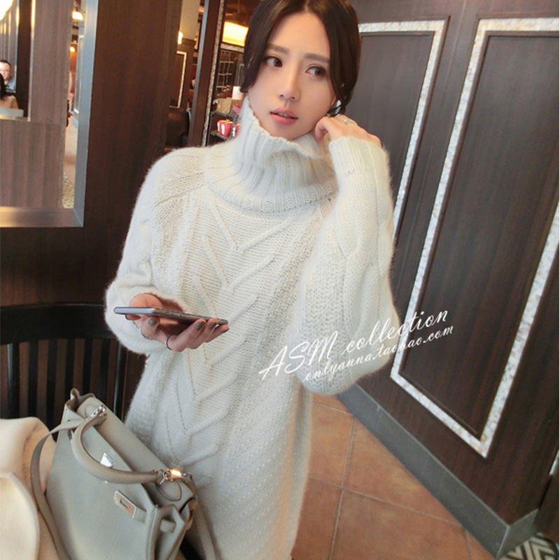 Turtleneck Pullovers Loose Basic Sweater Autumn And Winter Tops Solid Cashmere Sweater Women Loose Thick Mink