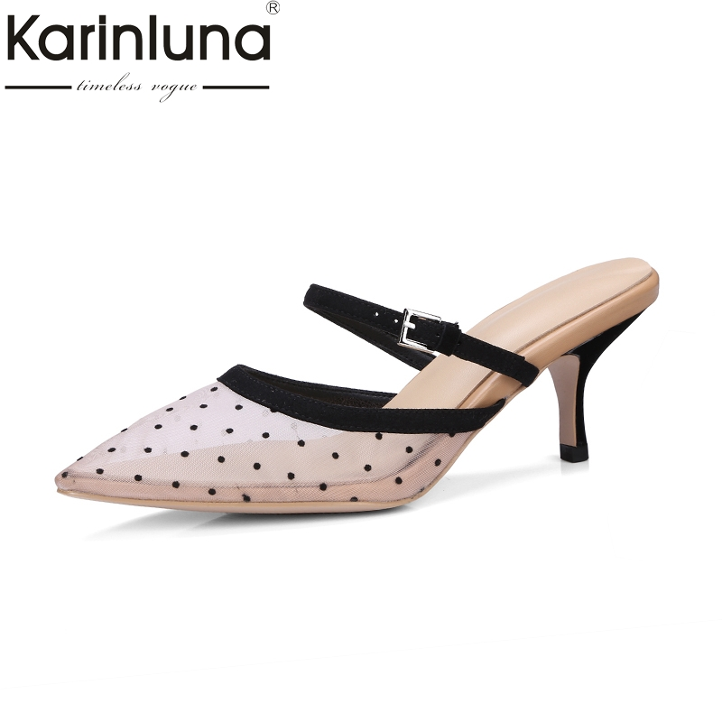 KARINLUNA fashion large size 33-40 pointed toe leisure pink women shoes mesh sexy high heels slip on outdoor women mules pumps lady glitter high fashion designer brand bow soft flock plus size 43 leisure pointed toe flats square heels single shoes slip on
