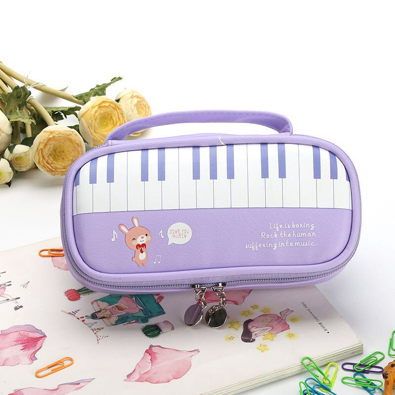 Candy Color Pen Bag Piano Design Pencil Case School Stationery Cartoon Pencil Bags High Capacity Storage Pen Pocket Holder G high quality canvas large capacity solid color school multifunctional boys pencil case pen holder bag stationery penalty 04921