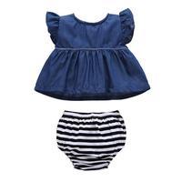 الوليد الطفل بنات ملابس فلامنغو أكمام قمم + القوس ملخصات 2 قطع مجموعة تتسابق 0-18 متر