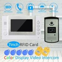 (1 SET) 7 Inch Screen LCD Monitor RFID Unlock Function HD Night Vision IR Camera Video Door Phone System Doorbell Intercom