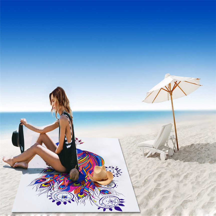 Cycle Zone Lovely Pets 150 * 150cm Peacock Wall Hanging Tapestry Wall Bedspread Beach Towel Mat Blanket Table 0524
