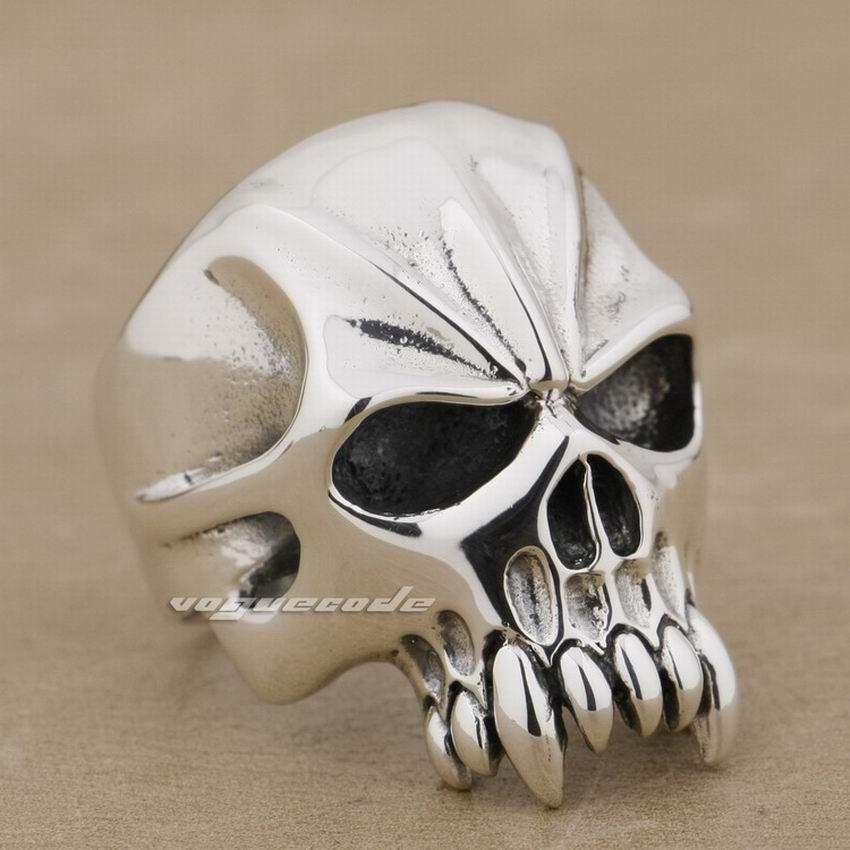 925 de plata esterlina enorme y cráneo pesado Biker Rocker Punk anillo 9M004 nos tamaño 8 a 13