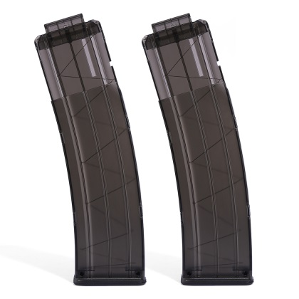 2pcs Worker 22 Bullets AK Model Curve Soft Bullet Clip Ammo Cartridge Dart Clip for Nerf Transparent Black