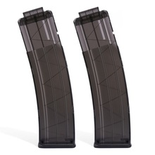 2pcs Worker 22 Bullets AK Model Curve Soft Bullet Clip Ammo Cartridge Dart Clip for Nerf - Transparent Black