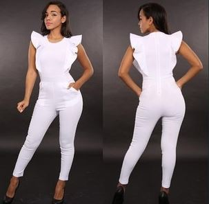 bcc52969df2b Cute Women Summer Black White Long Ruffle Sleeve Tube Bodysuits Sexy Skinny  Monos Combination Jumpsuit Rompers Fashion Overalls