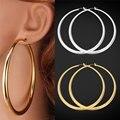 U7 Big Round Earrings Basketball Wives Trendy Gold Plated Fashion Jewelry Wholesale 80mm Diameter Large Hoop Earrings Women E424