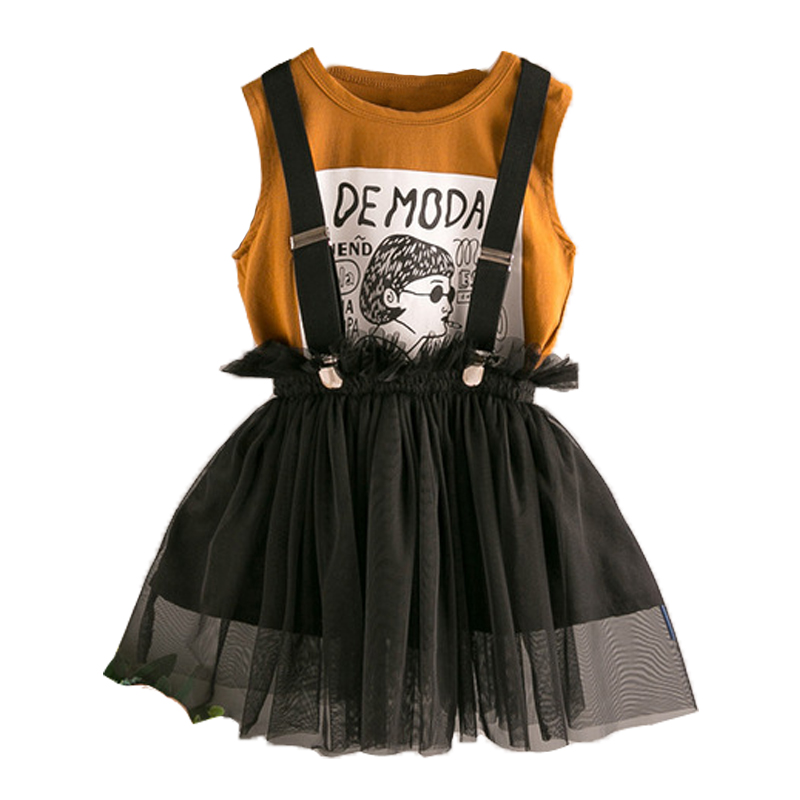 summer dress girls cartoon princess print vest+tutu overalls black kids girls dress casual cotton vestidos oupas infantis menina girls cartoon print dress