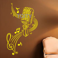 Music Microphone Wall Sticker Music Notes Vinyl Decal Dorm Teen Room Home Bedroom Decor Art Removable