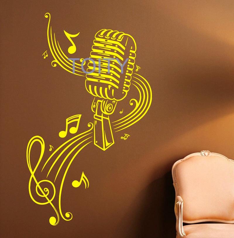 Music Microphone Wall Sticker Music Notes Vinyl Decal Dorm Teen Room ...
