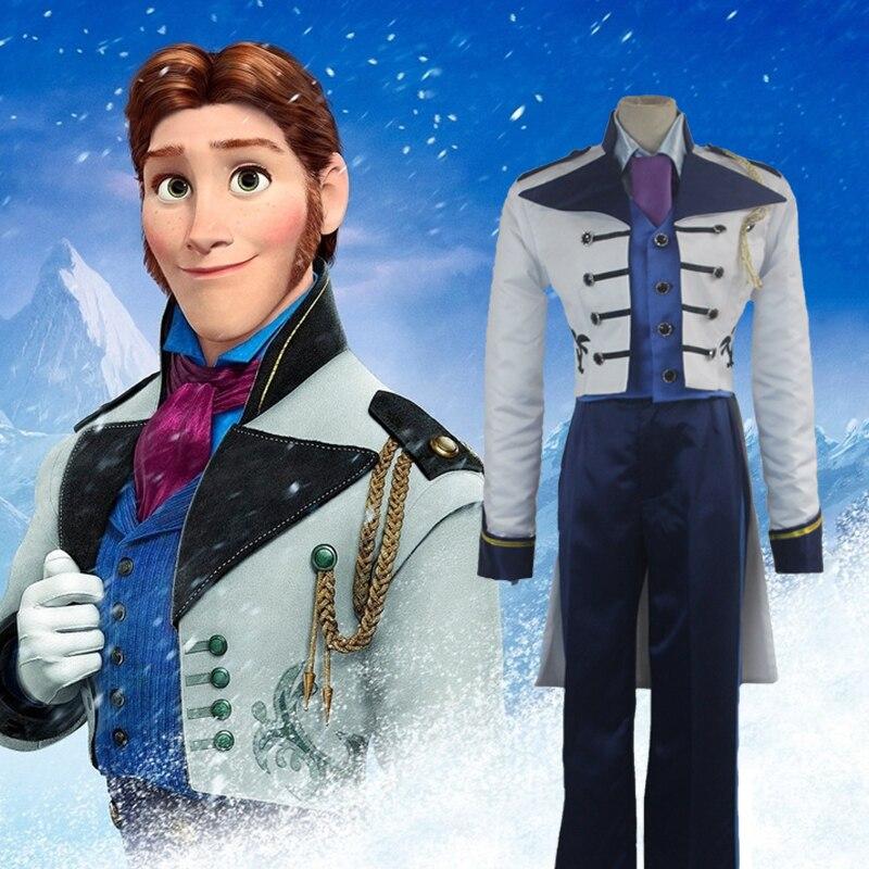 Custome анимация Снежная Королева Взрослый принц Ханс костюмы для косплея пальто для мужчин Хэллоуин карнавал