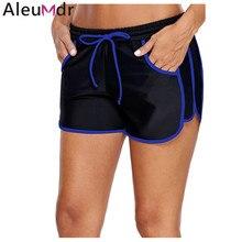 87bc1a740b Aleumdr Women Swimming Trunks Bottom Sporty Piping Trim Black Swim Shorts  Quick Drying Swimwear Briefs Female