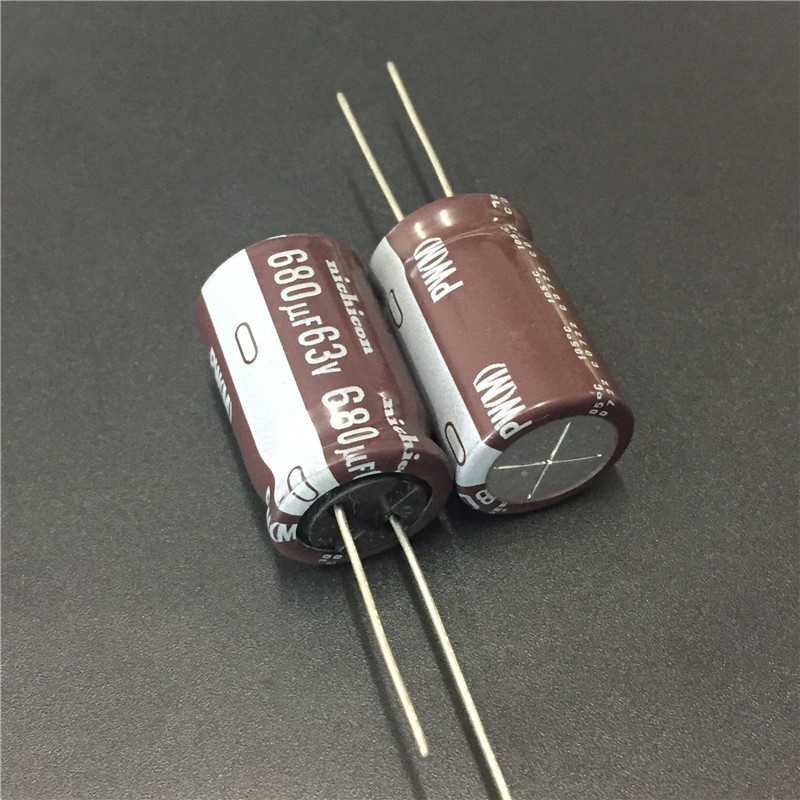 5pcs 680uF 63V NICHICON PW Series 16x25mm Low Impedance Long Life 63V680uF Aluminum Electrolytic Capacitor