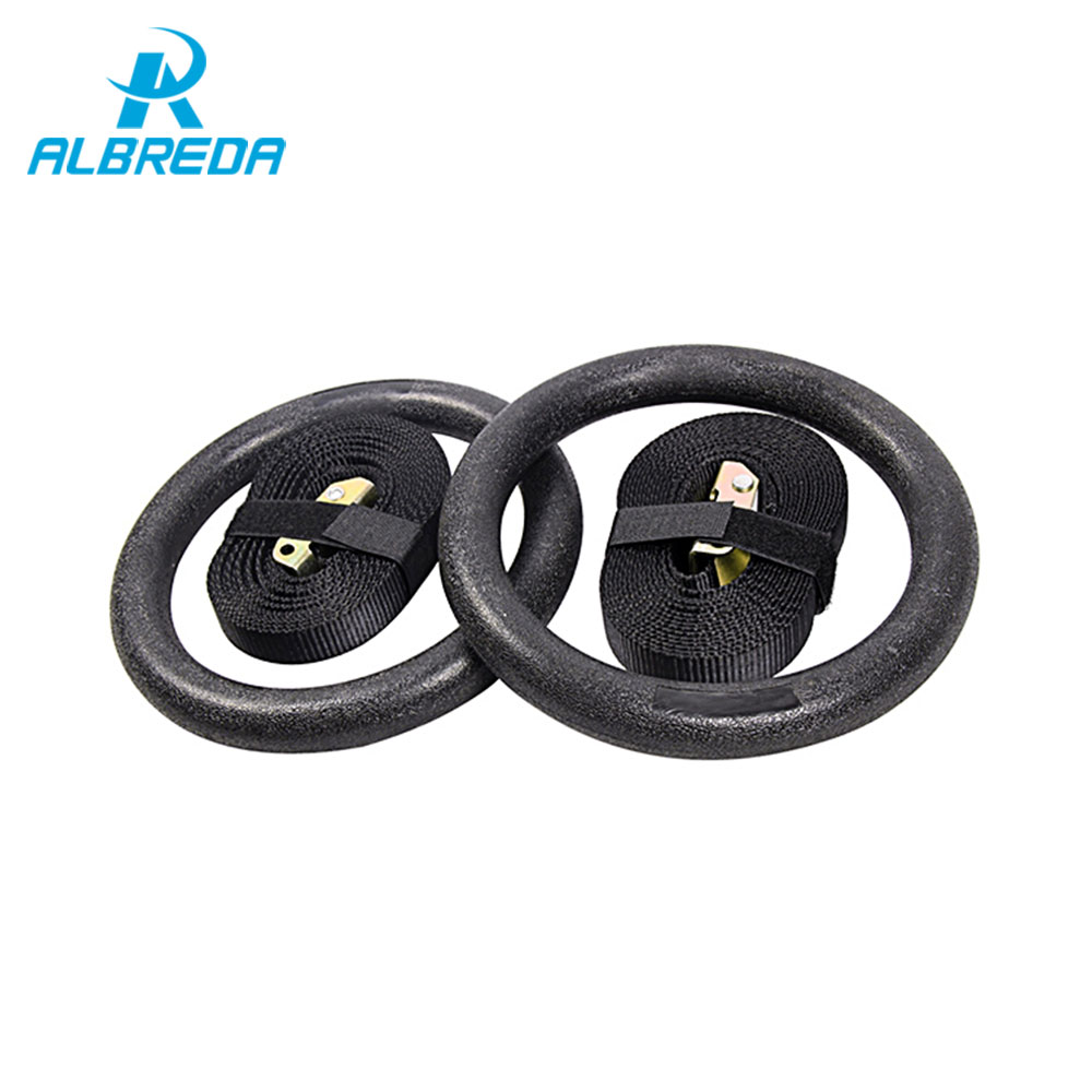Albreda 2pieces Gymnastic Rings With Adjustable Buckles Straps Gym Body Sculpture Skip Rope Equipment For Home Cross Fitness Exercise Strength