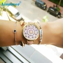 Hot Sales 2017 Fashion Women Floral Pattern Leather Band Analog Quartz Wrist Watch Caserelogio masculino relogio feminino Gift