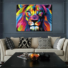 Abstract poster Decorative Pictures animal Print Lion Canvas Painting Frameless wall art for home decor