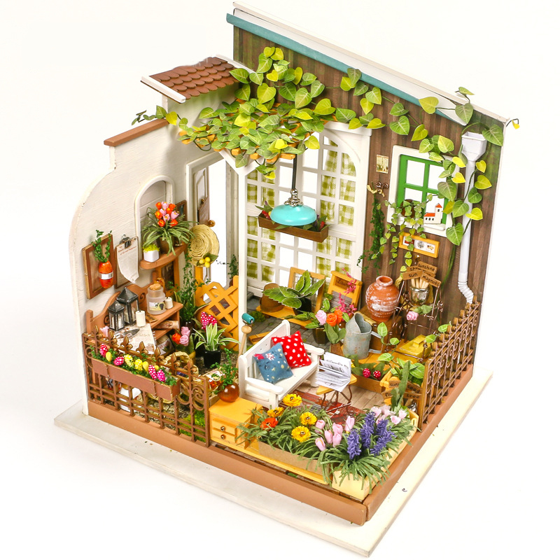 DIY Wooden Sunny Garden Miniature Dollhouse 3D LED Mini Dollhouse Kit With Furniture Kit Light Creative Christmas Gift