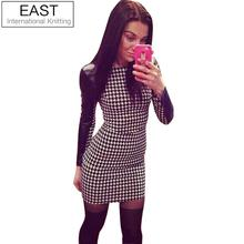 EAST KNITTING E5 Newest 2017 Spring Women Sexy Pu Leather Black Long Sleeve Splice Grid Winter Simple Plus Size Dresses