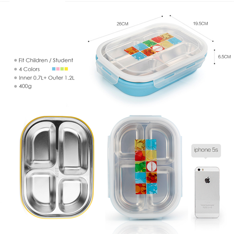 Double Layers Insulation Bento Box Lunch for Kids Students Stainless Steel 4 Grids Food Container Storage Microwave(China (Mainland))