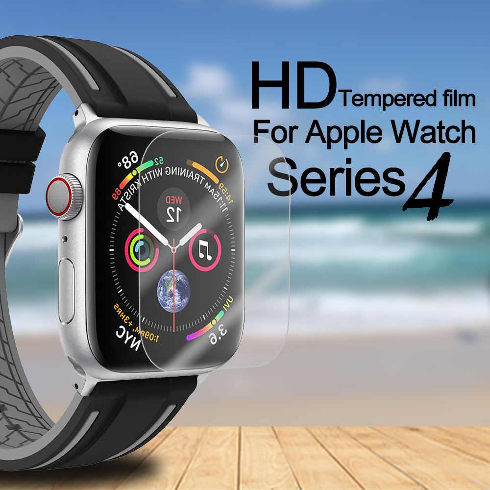 Película de vidrio templado de gel completo de borde suave para i Watch Series 4 película protectora de pantalla para Apple Watch funda de 40 44mm