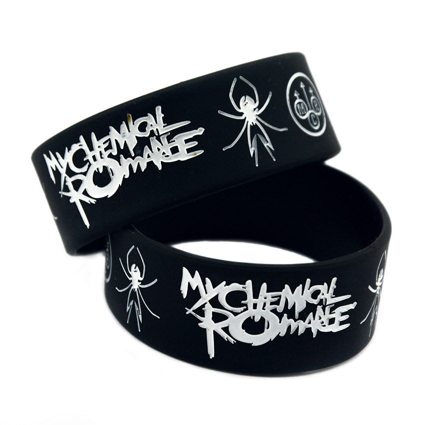 Punk Rock My Chemical Romance Silicone Wristband Show Your Support Rubber Power Men Bracelet Spider Punk Rock Band Music Lover