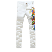 2015 новые поступления моды печатные мужские джинсы белые джинсы брюки случайные узкие брюки байкер джинсы брюки 29-38 C762