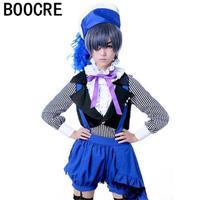 Anime Kuroshitsuji/Black Butler Book of Circus ciel phantomhive Cosplay Anime Costume vest+t shirt+pant+hat