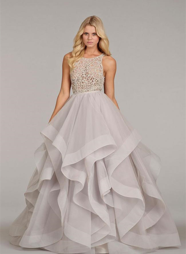 Two Piece See Through Corset Wedding Gown Sheer Beading Ruffles ...