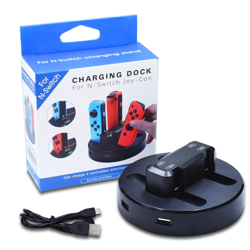 4 In 1 Charging Stand For Switch Joy Con NS Charging Dock For Nintendo Switch Controllers LED Charging Stand For Nintend Switch