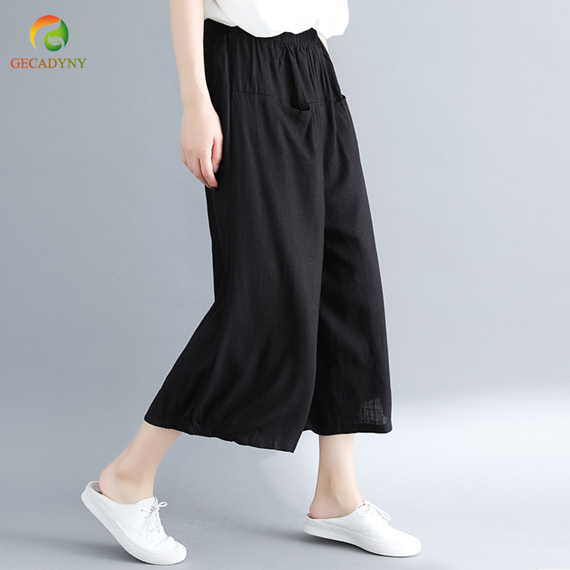 Summer Baggy OL Work High Waist Trousers Women Cotton Linen Wide Leg   Pants     Capris   Casual Loose Pantalon Female Big Size