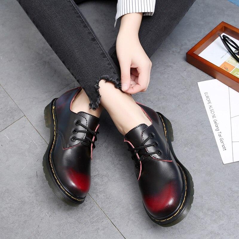 Estilo británico de Cuero Genuino Oxfords Para Las Mujeres Martin Tobillo Zapatos Mujer Primavera Otoño Ocasional Con Cordones de Zapatos de Los Planos 34-44